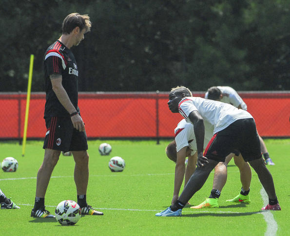 Mario Balotelli stretched during AC Milan's practice at Davidson College Monday.