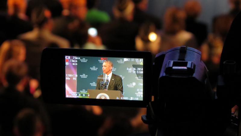 President Barack Obama on a camera monitor at the Charlotte Convention Center.
