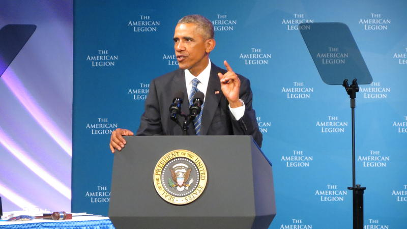 President Barack Obama addresses the American Legion at the Charlotte Convention Center on Tuesday.