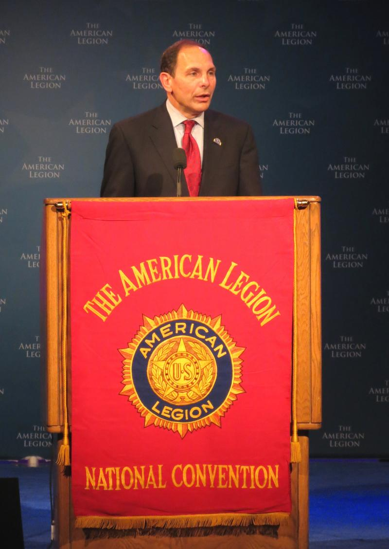 VA Secretary Robert McDonald spoke to veterans with the American Legion after President Obama. McDonald replaced Eric Shinseki, who resigned from the position in May after news of the scandal over veterans' health care was revealed.