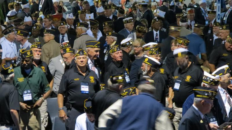 Veterans with the American Legion packed the hall for President Obama's address at the Charlotte Convention Center.