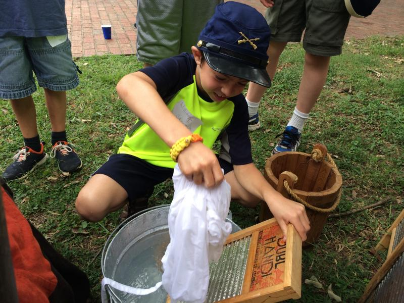 Ben Villamore learns how people washed clothing at Civil War camps.