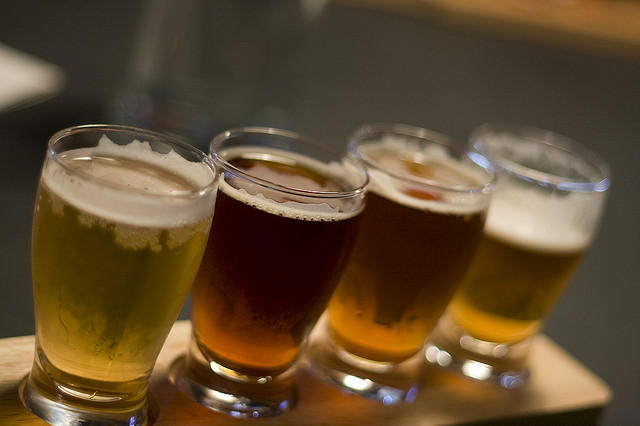 Beer sample flight.