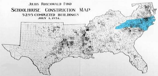 A map of the 5,300 Rosenwald Schools which were built from Maryland to Texas. North Carolina had more of these African-American schools than any other state.