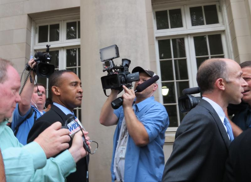 Patrick Cannon arrives at the Federal Courthouse in uptown for his sentencing hearing.