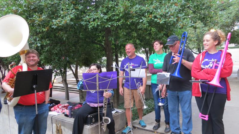 The Charlotte Pride pep band played wedding music for couples leaving the courthouse on Monday morning.