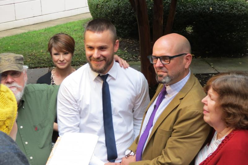 Joey Hewell and Scott Lindsley got married outside the Register of Deed's office on Monday morning.