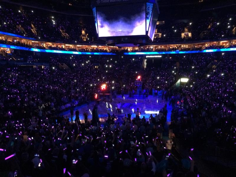 The pregame ceremony for the Hornets' opener.