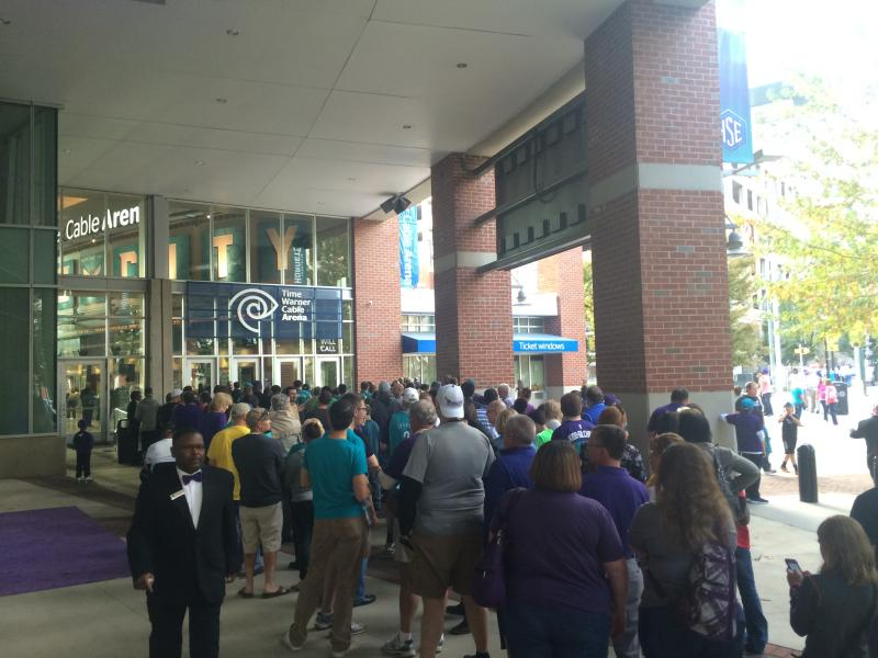 Fans line up two hours before tipoff.
