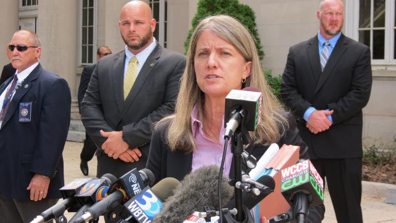 U.S. Attorney Anne Tompkins speaks to the media after the sentence.