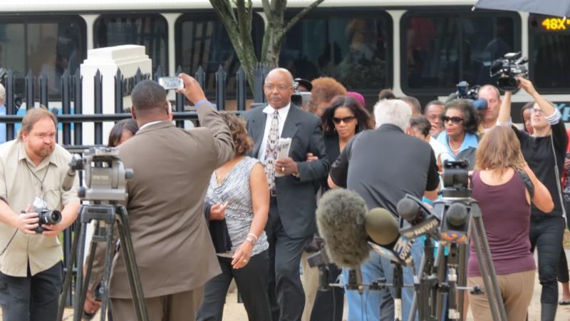 Patrick Cannon's wife Trenna arrives at the Federal Courthouse on Tuesday morning. She accompanied her husband last summer on a Las Vegas trip paid for by FBI undercover agents.