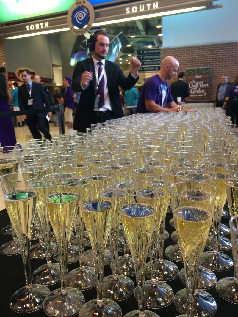 The Hornets gave out sparkling cider.