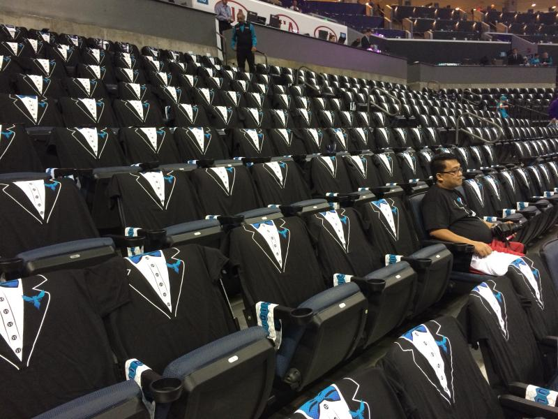 The Hornets put tuxedo shirts in every seat.