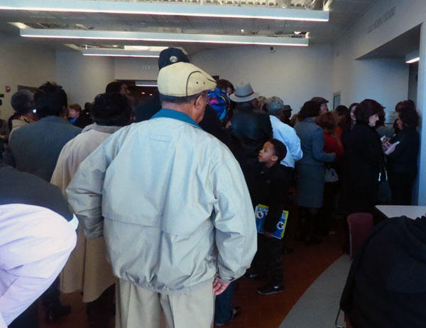People line up hours before the courtroom opens to try and get a seat to hear the dismissal of charges against the Friendship 9