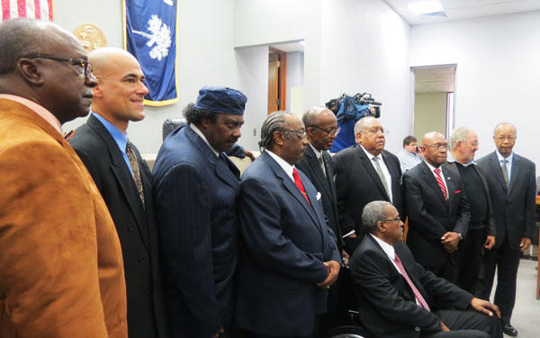 Friendship 9 after their convictions were dismissed on Jan 28, at a courtroom in Rock Hill, SC. The men served 30 days on the chain gang 54 years ago after they were arrested for stating a sit in at an all-white McCrory's lunch counter.
