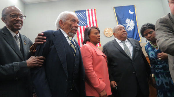 Ernest Finney, who represented the Friendship9 54 years ago and at the hearing to dismiss their convictions, is joined by some Friendship 9 members and Rev. Bernice King, daughter of the Rev. Martin Luther King, Jr. (in orange jacket)