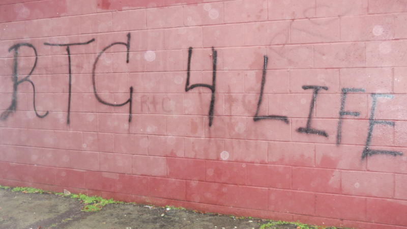 A former substation for the Chester Sheriff's Department is tagged by the Roundtree Circle Gang