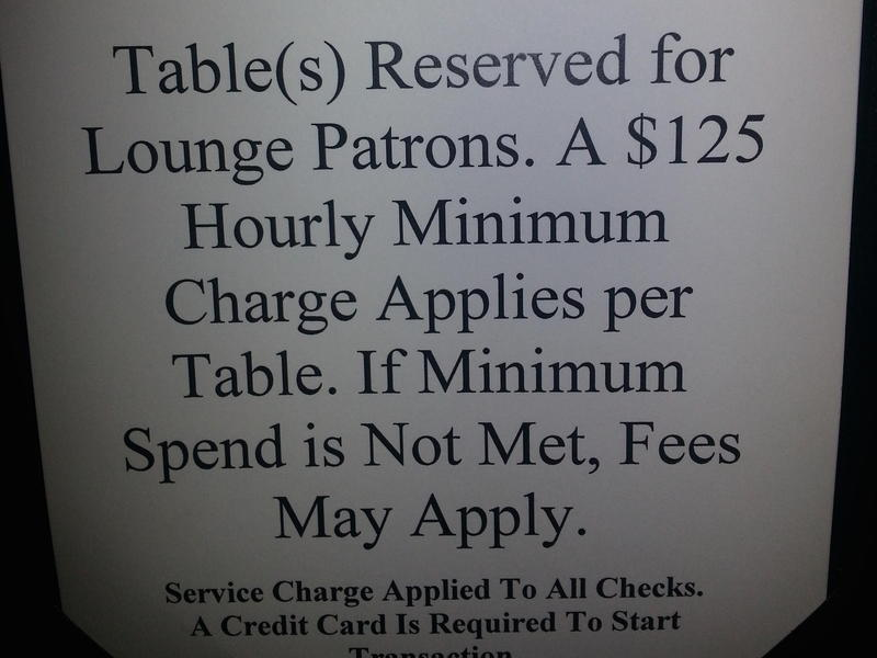Patrice Wright also took this picture of a minimum hourly charge for the Ritz-Carlton's lounge during the CIAA Tournament