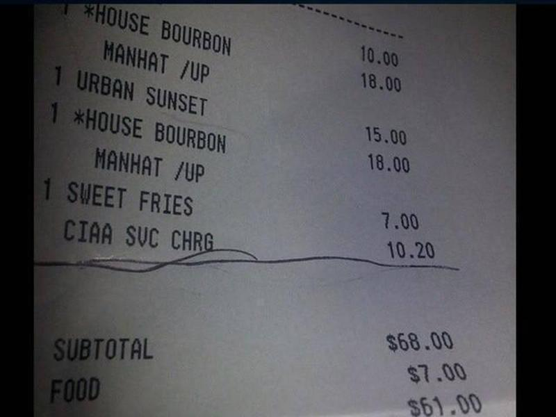 Patrice Wright's receipt from the Ritz-Carlton in Charlotte. The 'CIAA Service Charge' is underlined.