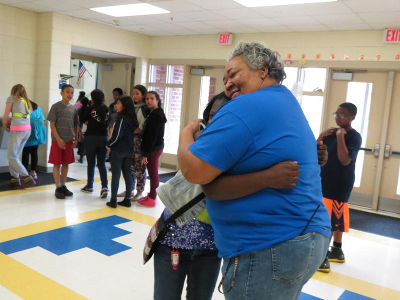 Pinewood Elementary custodian Barbara Watson is big on hugs and the students love it. She's a finalist for Cintas Corporation's janitor-of-the-year award..