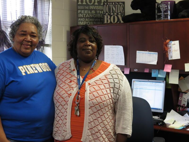 "Pinewood Elementary principal Natashia Pegram (right) says custodian Barbara Watson (left) is ""irreplaceable."""