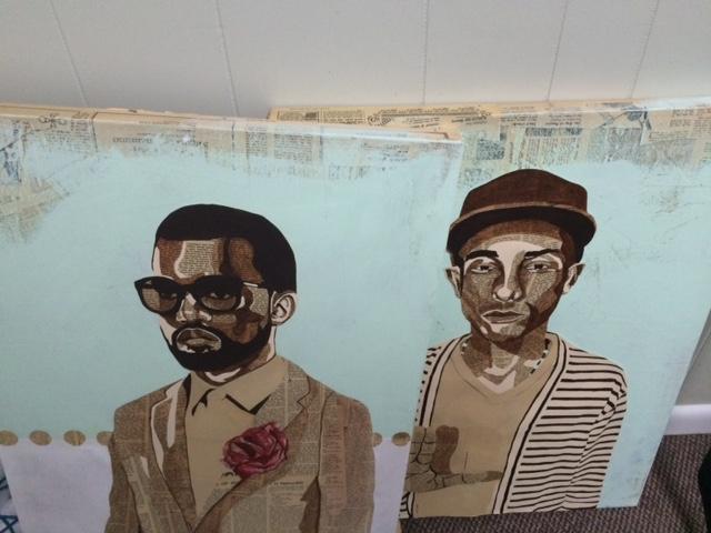 Portraits of Kayne West and Pharrell Williams