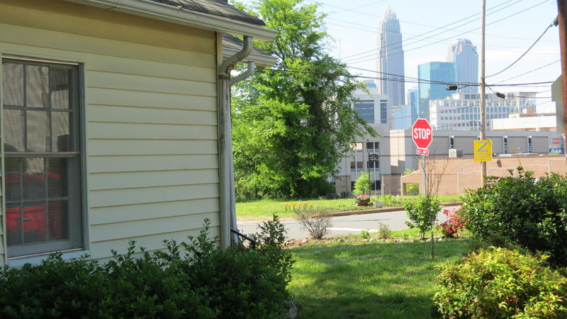 CCO President Virginia Bynum's one-bedroom bungalow has a straight-ahead view of Charlotte's skyline.