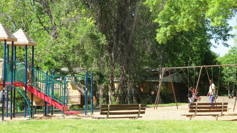 Cherry's playground, attached to the park, sits in the center of the neighborhood.