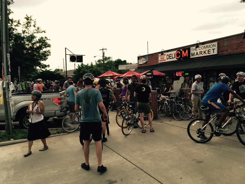 Gathering in front of the Common Market in Plaza Midwood.