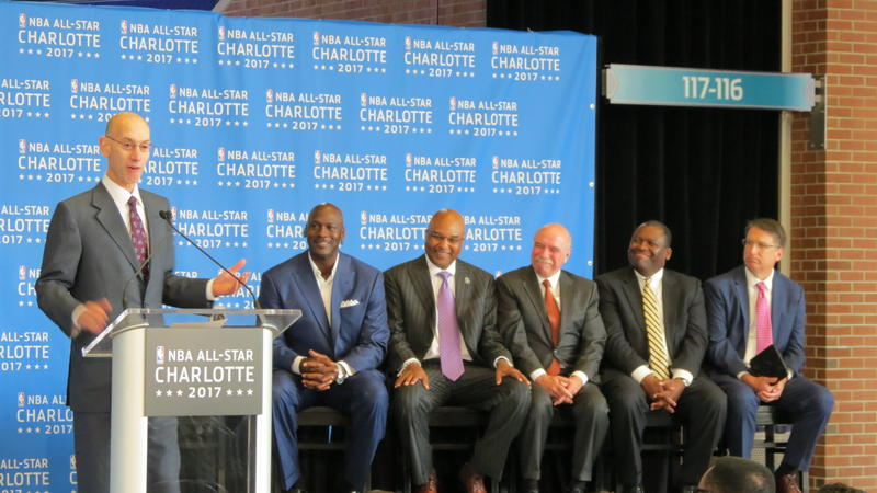 Gov. and Charlotte business leaders were all smiles last summer as they listened to NBA Commissioner Adam Silver announce the 2017 All-Star game would be in Charlotte.