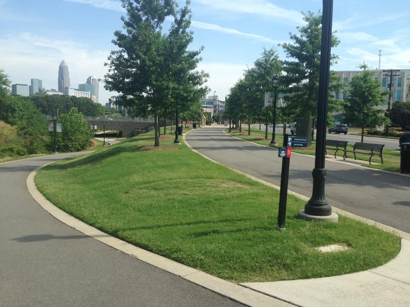 The view looking north from the Little Sugar Creek Greenway