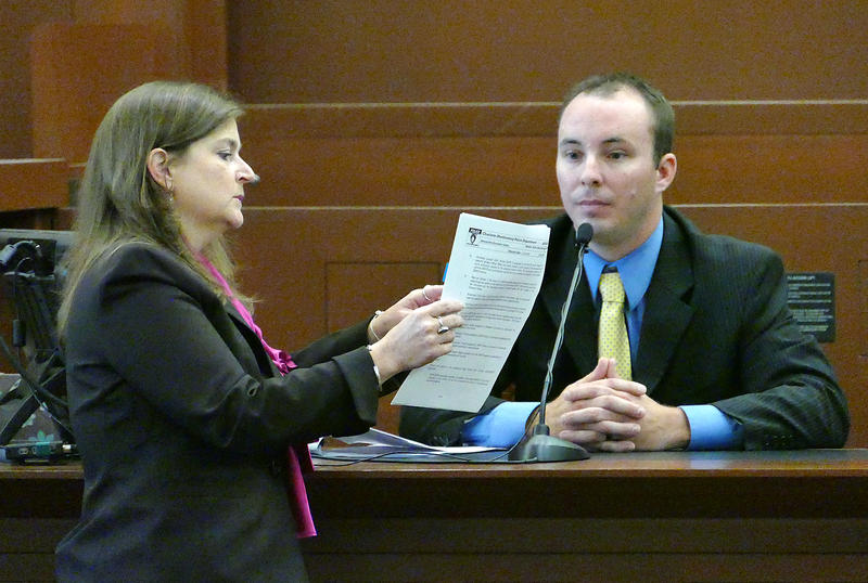 Prosecutor Teresa Postell questions CMPD officer Randall Kerrick in his voluntary manslaughter trial Friday, August 14, 2015.