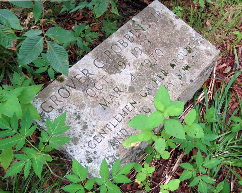 A memorial is in the woods to the park's developer Grover Robbins.