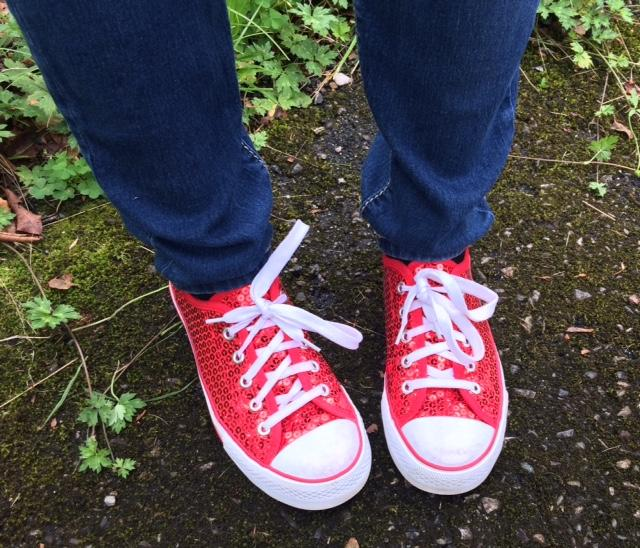 Jana Greer sports red converses on our walk down the yellow brick road.
