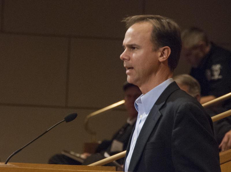 Joel Olsen of 02 EMC spoke at Wednesday's hearing at the Government Center.