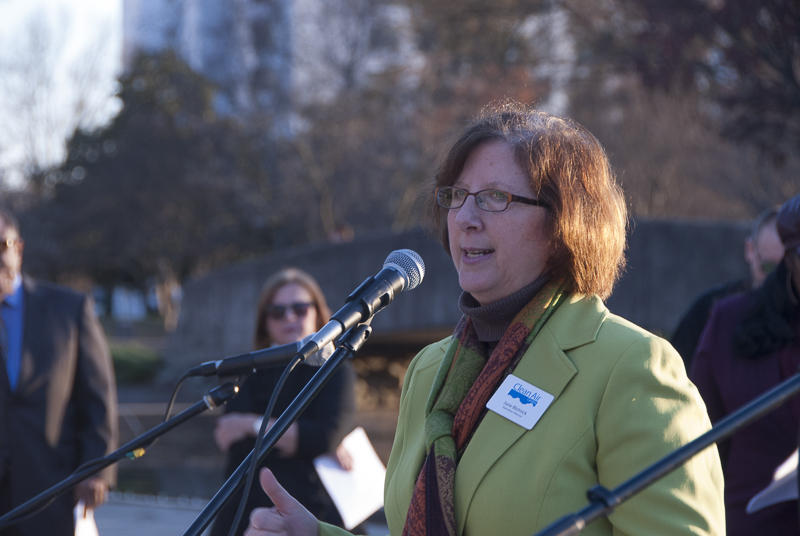 "June Blotnick of Charlotte, Executive Director of Clean Air Carolina, addressed the rally at Marshall Park. ""Carbon emissions from burning fossil fuels destabilizes the world's climate and threatens life for all of on the planet as we know it,"" she said."