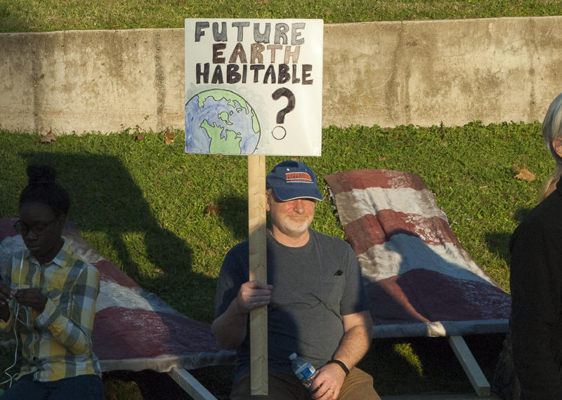 A rally goer at Marshall Park Wednesday.