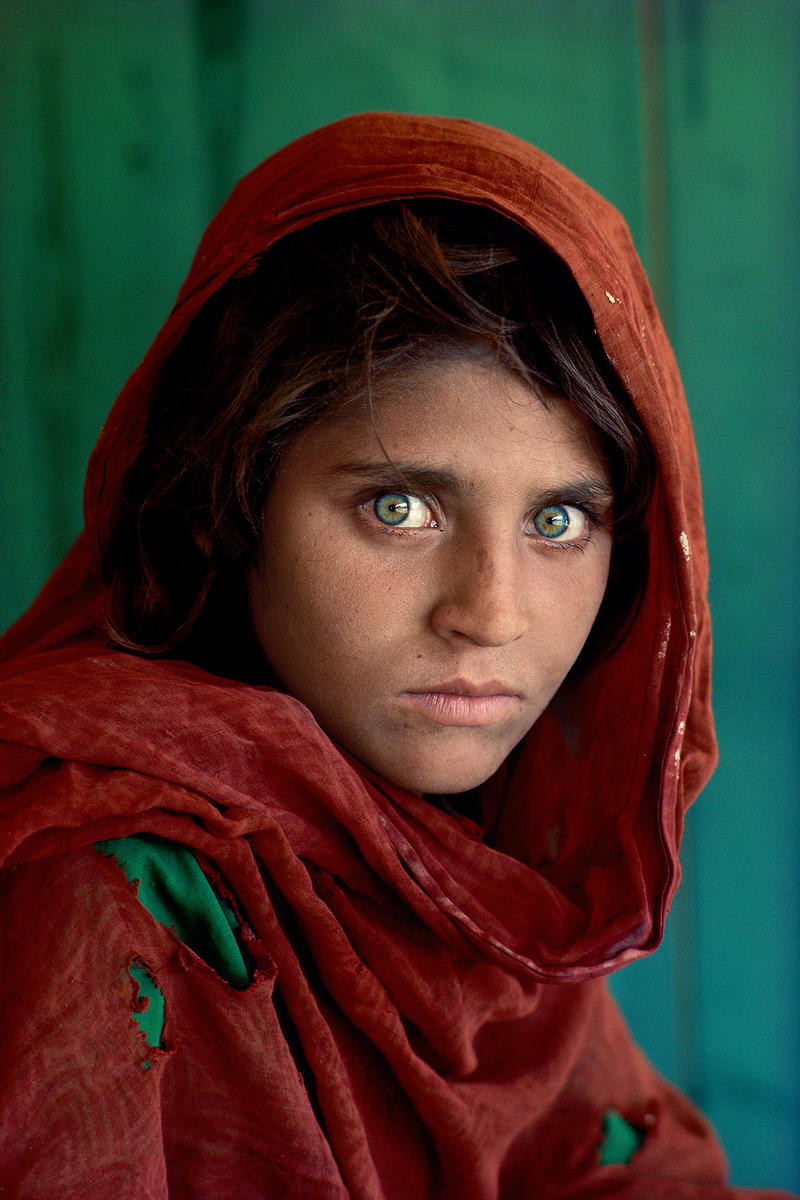 Sharbat Gula, Afghan Girl, at Nasir Bagh Refugee Camp near Peshwar, Pakistan