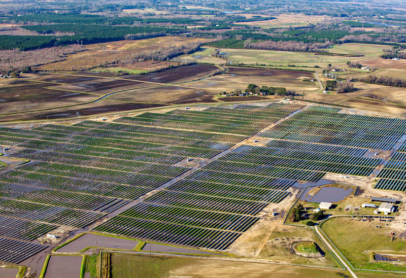 Aerial view of Duke Energy's solar farm in Conetoe, N.C.