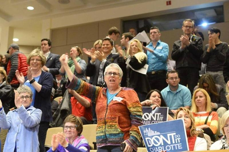 Supporters cheer after the City Council's 7-4 vote on LGBT protections on Monday night.