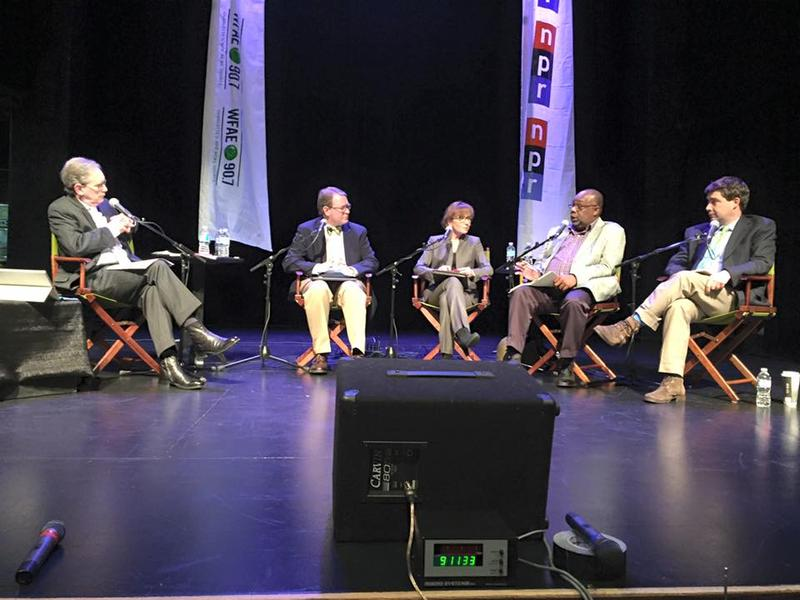 (Left to right) Mike Collins, Michael Bitzer from Catawba College, Kerry Haynie from Duke University, Susan Roberts from Davidson College and WFAE's Tom Bullock at McGlohon Theater.