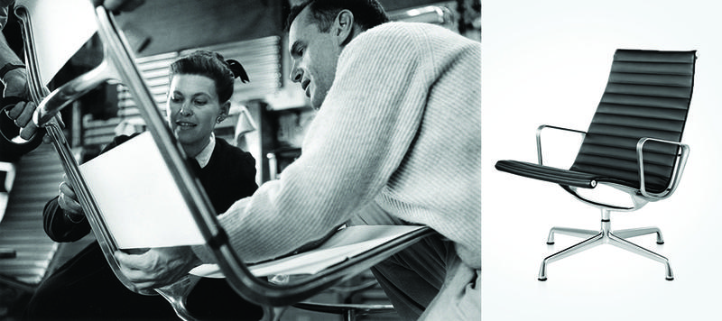 Charles and Ray Eames examining sling locations on an Aluminum Group Lounge Chair, 1958.