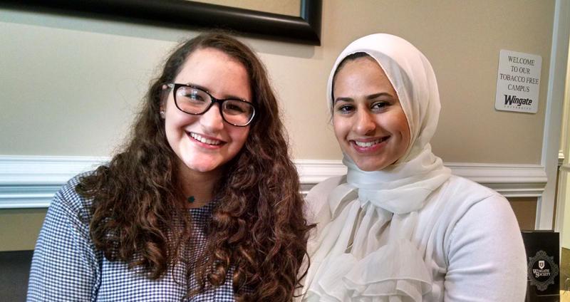 Rania Hamdan (left) and Haneen Muhyeddin raised questions about an anti-Muslim speech on campus.