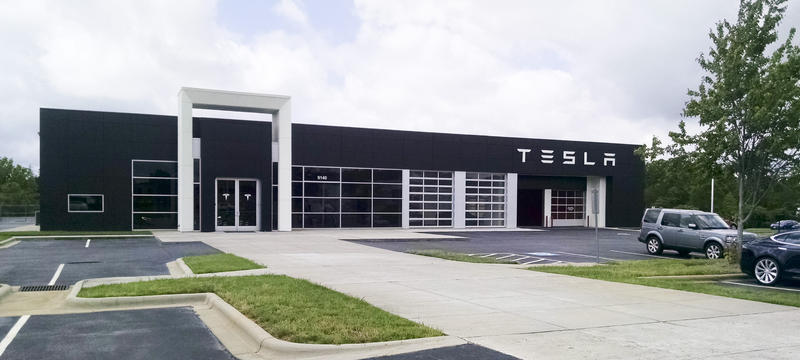 Tesla's showroom on East Independence Boulevard.