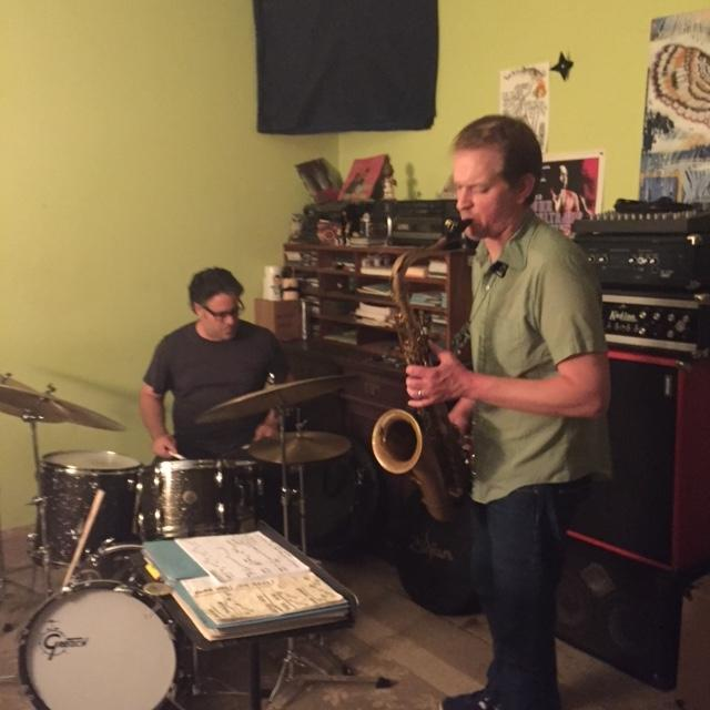 """Brent Bagwell and Seth Nanaa in Bagwell's garage, which they call """"The Lab."""""""