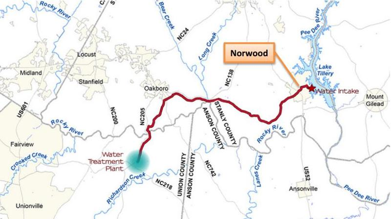 The $180 million project would include a 21-mile pipeline from Norwood, in Stanly County, to Union County.