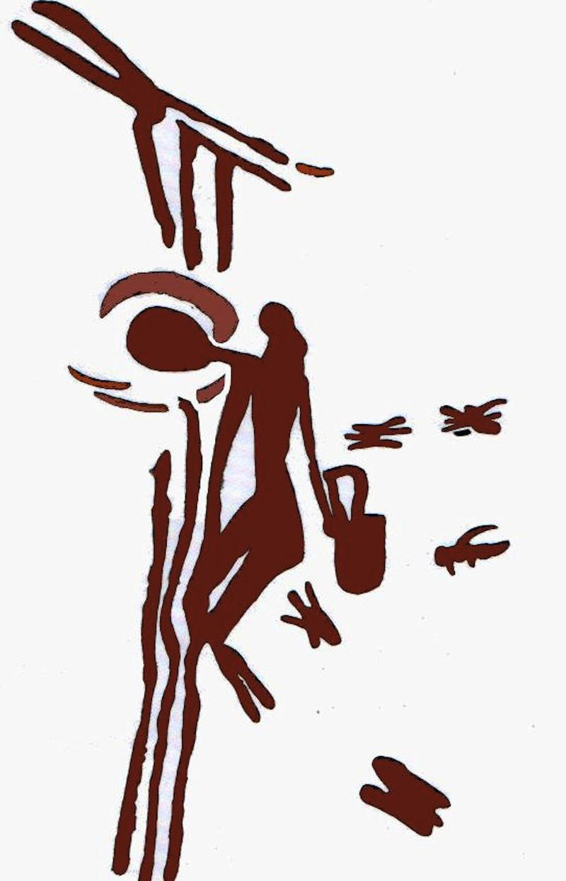 drawing of a painting from the caves of Cueva de la Arana