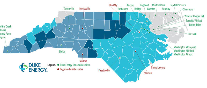 duke solar projects in NC map