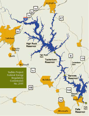 map of yadkin hydro dams