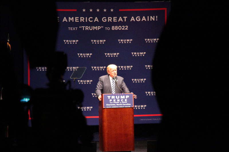 Donald Trump speaking Wednesday at McGlohon Theatre.